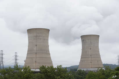 Shown are a cooling towers at the Three Mile Island nuclear power plant in Middletown, Pennsylvania, May 22, 2017.