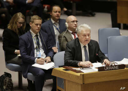 Ukrainian Ambassador the the United Nations Volodymyr Yelchenko speaks during a security council meeting about the escalating tensions between the Ukraine and Russia at United Nations headquarters, Nov. 26, 2018.