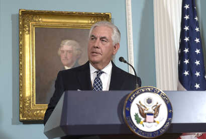 Secretary of State Rex Tillerson responds to a question about North Korea after speaking on the release of the 2016 annual report on International Religious Freedom, Aug. 15, 2017, at the State Department in Washington.