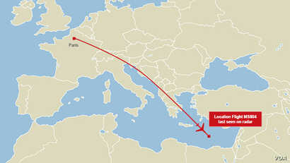EgyptAir flight 804 flight path map