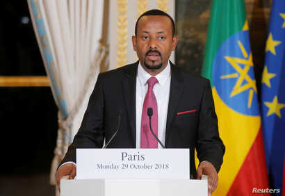 Ethiopian Prime Minister Abiy Ahmed speaks during a media conference at the Elysee Palace in Paris, France, Oct. 29, 2018.