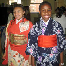 Students in traditional Japanese clothing
