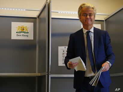 Firebrand anti-Islam lawmaker Geert Wilders prepares to cast his vote for the Dutch general election in The Hague, Netherlands, March 15, 2017.