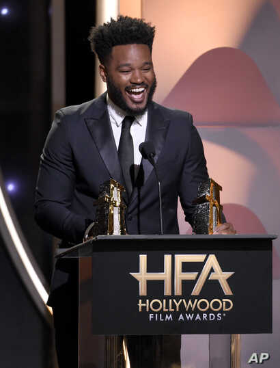 "Director Ryan Coogler accepts the Hollywood film award for ""Black Panther"" at the Hollywood Film Awards on Nov. 4, 2018, at the Beverly Hilton Hotel in Beverly Hills, California."