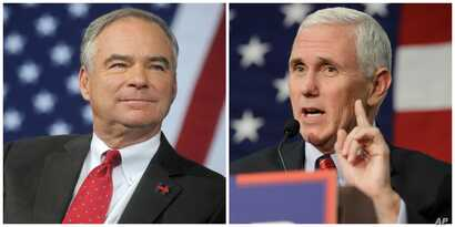 Democratic vice presidential candidate Tim Kaine (L) and Republican vice presidential candidate Mike Pence