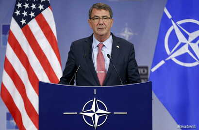 U.S. Defense Secretary Ash Carter addresses a news conference during a NATO defense ministers meeting at the alliance headquarters in Brussels, Belgium, Oct. 8, 2015.