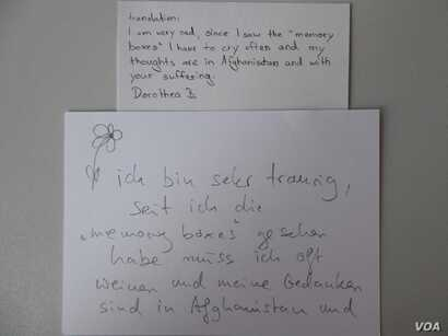 A written Feedback from the Memory-Boxes-Exhibition in Frankfurt, June 27, 2018. (Photo: Memory Box Project)