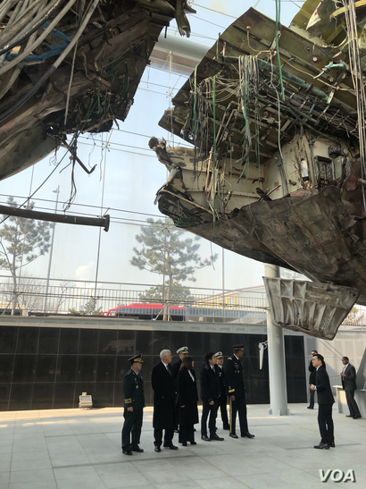 U.S. Vice President Mike Pence inspects the Cheonan, a South Korea warship that was sent to the bottom of the Yellow Sea, March 26, 2010, by an explosion blamed on a North Korean torpedo.