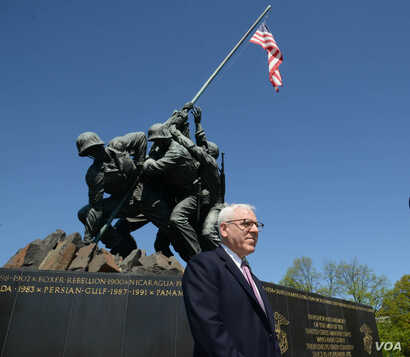 David Rubenstein, at the Iwo Jima War Memorial in Virginia, is helping to fund the restoration of the iconic statue. April  2015. (Credit: National Park Service)