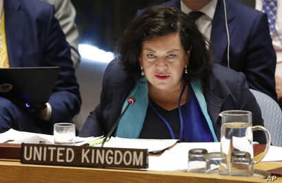 United Kingdom's United Nations Ambassador Karen Pierce speaks during a U.N. Security Council meeting, Sept. 6, 2018, at U.N. headquarters in New York..
