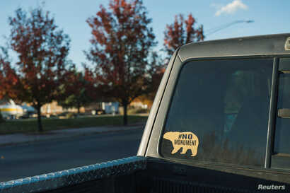 A vehicle displays a sticker opposing the Bears Ears National Monument in Blanding, Utah, Oct. 31, 2017.