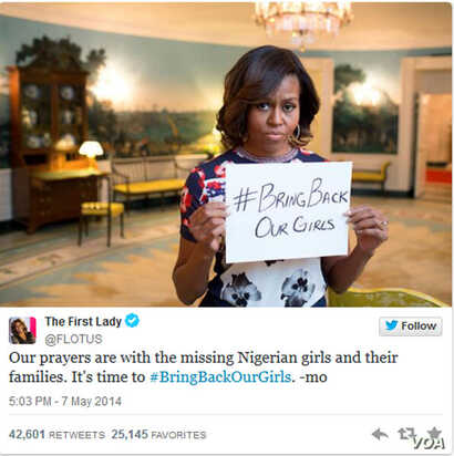 First Lady Michelle Obama's post on Twitter on abducted Nigerian schoolgirls