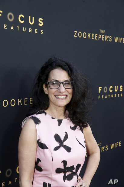 "Screenwriter Angela Workman seen at Los Angeles Premiere of Focus Features' ""The Zookeeper's Wife"" at ArcLight Hollywood, March 27, 2017, in Los Angeles."