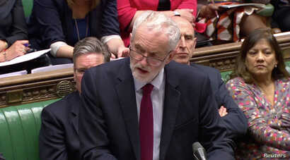 Britain's opposition Labour Party leader Jeremy Corbyn speaks after a round of voting on alternative Brexit options at the House of Commons in London, Britain, April 1, 2019 in this still image taken from video.