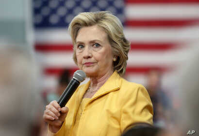 Democratic presidential candidate Hillary Rodham Clinton listens to questions during a campaign stop, July 28, 2015, in Nashua, N.H