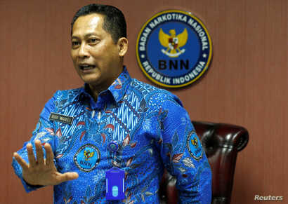 The head of Indonesia's anti-narcotics agency Budi Waseso gestures during interview in Jakarta, Indonesia, July 28, 2017.