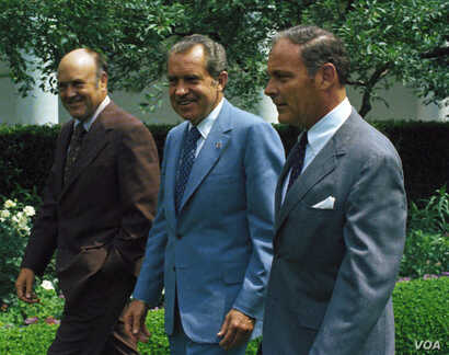 President Richard M. Nixon with Melvin Laird, and General Alexander Haig, walking in rose garden of the White House in Washington, June 6, 1973.