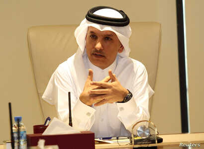 Qatar's Finance minister Ali Sherif al-Emadi speaks during a briefing on the financial outlook for Qatar, in Doha, Qatar, February 7, 2017.