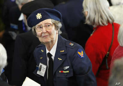 Wearing her WASP uniform from World War II, Eleanor Brown of Victoria, Texas, attends a Congressional Gold Medal ceremony on Capitol Hill in Washington, honoring the Women Airforce Service Pilots (WASP), March 10, 2010.