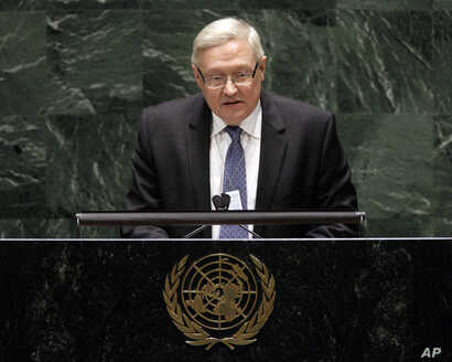 FILE - Sergei Ryabkov, deputy foreign minister of the Russian Federation, addresses the Nuclear Nonproliferation Treaty conference at United Nations headquarters, May 4, 2010. Ryabkov said Moscow would retaliate if the U.S. expands sanctions against...