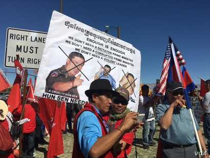 Hundreds of Cambodian-Americans from across the United States hold a protest at Sunnylands, California, Monday, February 15, 2016, to protest the visit of Cambodian Prime Minister Hun Sen and to demand greater respect of human rights in Cambodia, jus...