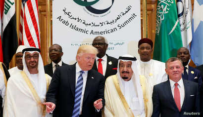 (Front R-L) Jordan's King Abdullah II, Saudi Arabia's King Salman bin Abdulaziz Al Saud, U.S. President Donald Trump, and Abu Dhabi Crown Prince Sheikh Mohammed bin Zayed al-Nahyan pose for a photo during Arab-Islamic-American Summit in Riyadh, May 2...