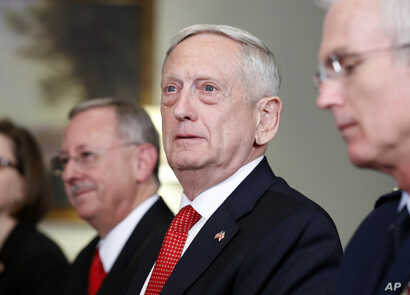 Defense Secretary Jim Mattis listens to a reporter's question during a meeting with Georgian Defense Minister Levan Izoria at the Pentagon, Nov. 13, 2017, in Washington.