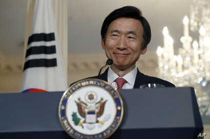 South Korean Foreign Minister Yun Byung-se smiles after meeting with Secretary of State John Kerry, Wednesday, Oct. 19, 2016, at the State Department in Washington.