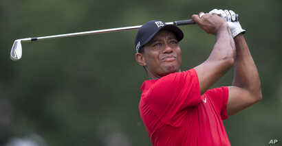Tiger Woods watches his shot from the third tee during the final round of the Wyndham Championship golf tournament at Sedgefield Country Club in Greensboro, N.C., Sunday, Aug. 23, 2015.