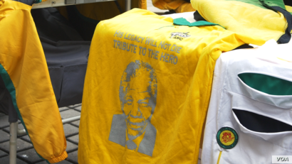 A shirt displaying support for the ruling African National Congress is shown at a demonstration in Johannesburg, the economic capital of South Africa, April 7, 2017. (Photo courtesy of Zaheer Cassim)