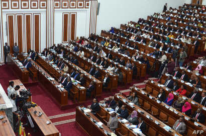 FILE - Ethiopian lawmakers attend a swearing-in ceremony of newly-appointed ministers at the Parliament in the capital Addis Ababa, October 16, 2018.