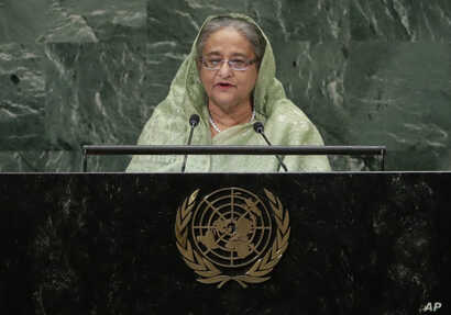 Bangladesh's Prime Minister Sheikh Hasina addresses the 73rd session of the United Nations General Assembly,       Sept. 27, 2018, at the United Nations headquarters