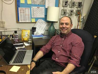 Donald Fried in the stage manager's office at Sweat, taking a break before show time.