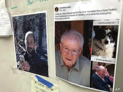 FILE - Messages are shown on a bulletin board at The Neighborhood Church in Chico, Calif., Nov. 13, 2018. Numerous postings fill the message board as evacuees, family and friends search for people missing from the northern California wildfire.