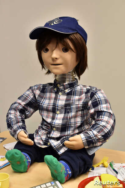 Kaspar, a child-sized humanoid robot developed at the University of Hertfordshire to interact and help improve the lives of children with autism, is seen at the University of Hertfordshire, in Stevenage, Britain, Jan. 30, 2017.