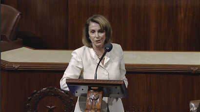 In this image from House Television video, House Minority Leader Nancy Pelosi of Calif., speaks June 14, 2017, on the House floor at the Capitol in Washington, as she talks about the shooting at the Republican congressional baseball practice.