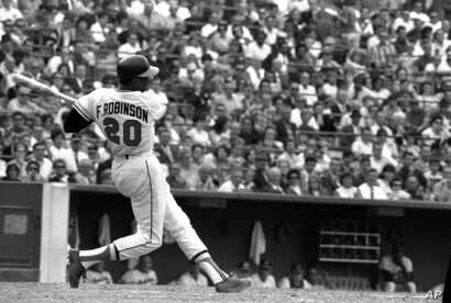 This is a May 19, 1966, file photo shows Baltimore Orioles' Frank Robinson at bat.
