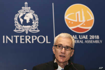 FILE - Jurgen Stock, Secretary General of Interpol, talks at a press conference in Dubai, United Arab Emirates, Nov. 18, 2018.