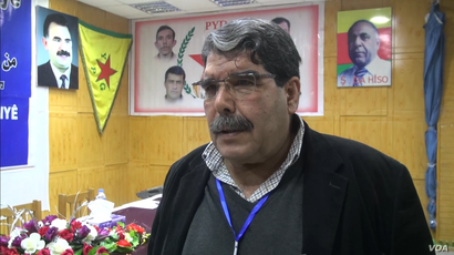 Salih Muslim, lead of the Syrian Kurdish opposition group Democratic Union Party (PYD), speaks to VOA's Kurdish service in Hasakah, Syria, in the screen grab from Jan. 23, 2017.