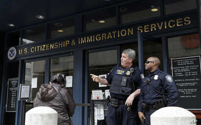 File - The entrance to the Immigration and Customs Enforcement office in San Francisco is seen in this Feb. 28, 2018, photo.