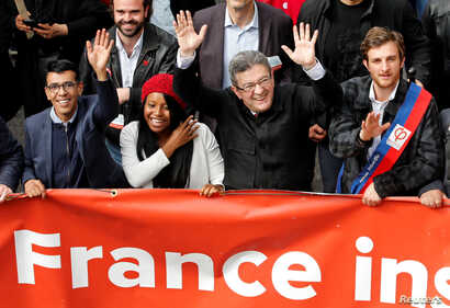 """Jean-Luc Melenchon, leader of far-left opposition """"France Insoumise"""" (France Unbowed) political party attends a demonstration against French government reforms in Marseille, France, Apr. 14, 2018."""