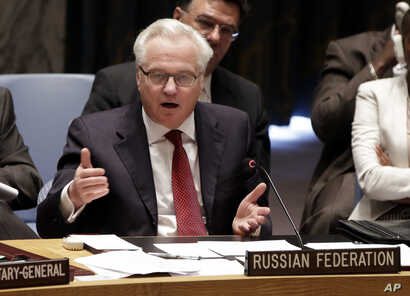 Russian Federation Ambassador Vitaly Churkin addresses the United Nations Security Council,  Friday, May 2, 2014