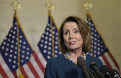 House Minority Leader Nancy Pelosi of Calif., speaks to reporters following the House Democratic Caucus elections on Capitol Hill in Washington, Nov. 30, 2016, for House leadership positions.