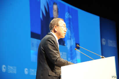 United Nations Secretary General Ban Ki-moon called on delegates at the United Nations Conference on Climate Change in Doha to speed up their work on an agreement to address a warming planet.