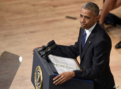 President Barack Obama speaks an interfaith memorial service for the fallen police officers and members of the Dallas community, July 12, 2016, at the Morton H. Meyerson Symphony Center in Dallas.