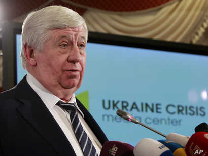 Then-General Prosecutor of Ukraine Viktor Shokin speaks during news conference in Kyiv, Ukraine, Feb. 16, 2015.