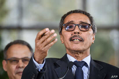 Khatri Addouh, leader of the Sahrawi delegation and the Polisario Front, gestures as he talks to reporters after a two-day round of talks on ending the Western Sahara conflict, at U.N. offices in Geneva, March 22, 2019.