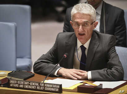 FILE - Mark Lowcock, U.N. Humanitarian Affairs Emergency and Relief Coordinator, addresses the United Nations Security Council with a report on Yemen at U.N. headquarters, Oct. 23, 2018.