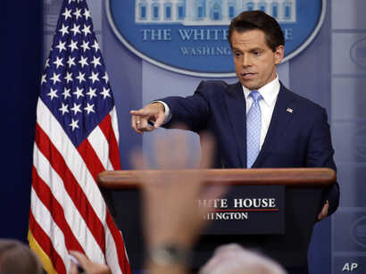 New White House communications director Anthony Scaramucci speaks to members of the media in the Brady Press Briefing room of the White House in Washington, July 21, 2017.