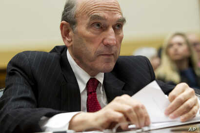 U.S. Special Representative for Venezuela Elliott Abrams testifies before the House Foreign Affairs subcommittee hearing on Venezuela on Capitol Hill in Washington, Feb. 13, 2019.